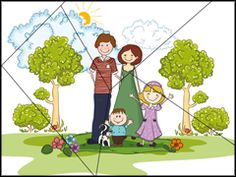 Puzzel voor kleuters / Puzzle à imprimer - la famille File Folder Activities, Sorting Activities, Infant Activities, Activities For Kids, Human Body Crafts For Kids, Reading Cartoon, Family Theme, Lesson Planner, Happy Cartoon
