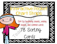 """Interactive Pocket Chart:78 cards & 52 strips to sort by beg/end sounds & words from TheKinderLife on TeachersNotebook.com -  (33 pages)  - This is a set of 78 picture cards (*3 pictures for each letter- 4 for b and 2 for """"x"""".) and 52 sorting strips to help students master: -beginning sounds -ending sounds -word attack strategies -spelling strategies"""