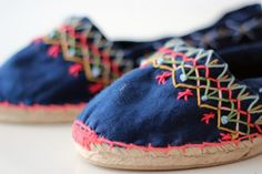 15 Chic Espadrilles for Girls Who Love Wedges via Brit Co Espadrilles, Espadrille Shoes, Shoes Flats Sandals, Shoe Boots, Footwear Shoes, Embroidery Art, Cross Stitch Embroidery, Crochet Shoes, Motif Floral