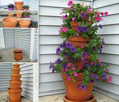 Flower Tower garden gardening crafts garden ideas garden projects flower tower