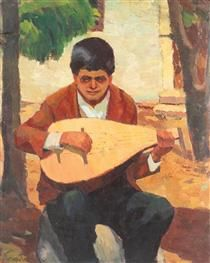 The Cobza Player from Balchik, Francisc Sirato. Post Impressionism, Art Database, Modern Art, Past, Mona Lisa, Auction, Artwork, Painting, Vintage