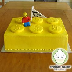 This simple Lego brick cake would look great atop a cupcake stand.