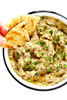 The BEST Baba Ganoush recipe -- easy to make with grilled or roasted eggplant, tahini, lemon juice, roasted garlic and a few simple seasonings. It's naturally gluten-free and vegan, works great as a dip or a spread, and tastes SO flavorful and delicious! | gimmesomeoven.com #babaganoush #dip #eggplant #spread #healthy #appetizer #vegan #glutenfree #vegetarian #dinner #lebanese Best Baba Ganoush Recipe, Gimme Some Oven, Eggplant Recipes, Middle Eastern Recipes, Afternoon Snacks, Roasted Garlic, Whole 30 Recipes, Tahini