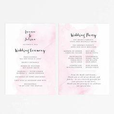 fan wedding programs tropical damask coral summer or destination