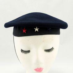 Child's Navy Sailor Hat Beret Wool 1940 Vtg. $37.00, via Etsy.