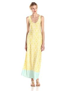 3d96210d4920 MSK Women's Printed Tank Maxi Dress, Chartre/Aqua, Small at Amazon Women's  Clothing store: