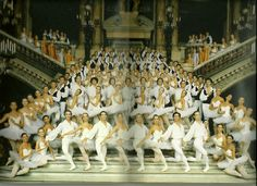 Paris Opera Ballet.  Note* Manuel Legris, still a sujet, 1st boy along the left bannister. Photo from the Paris Opera Ballet program US Tour July 1986, Manu Legris was nominated Etoile by Nureyev on the stage of the Met in NY.
