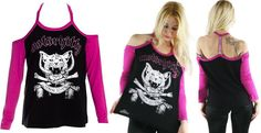 Spite Cut Out Shoulder Tee by Too Fast Clothing - Motor Kitty