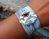 Silk Ribbon Bracelet, Nautical Silver Toggle Clasp, Dolphins Jewelry, Adjustable Yoga Wrist Wrap, An Eco Friendly Gift in Sky Blue