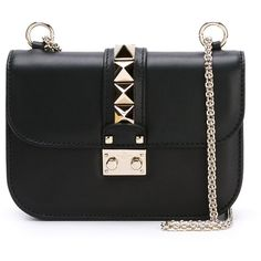 Valentino Garavani Rockstud Crossbody Bag (£1,065) ❤ liked on Polyvore featuring bags, handbags, shoulder bags, black, black cross body purse, embellished handbags, black shoulder handbags, crossbody handbags and crossbody shoulder bags
