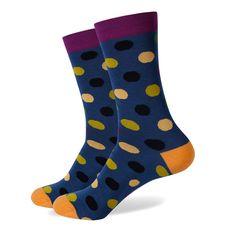 Blue Multi Coloured Polka Dot Socks Wedding Socks Funky Socks Dress Socks Happy Socks Groomsmen Socks Gift for men Funky Socks, Colorful Socks, Groomsmen Socks, Yellow Socks, Purple Socks, Knitting Socks, Knit Socks, Socks Men, Men's Socks