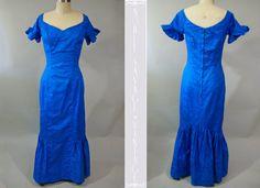 Evelyn Margolis Hawaii Peacock Blue Cotton by NobleSavageVintage