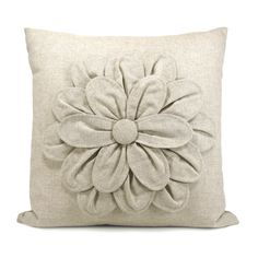 Flower decorative pillow cover - Natural beige flower applique pillow case - 16x16 pillow cover. $62.00, via Etsy.