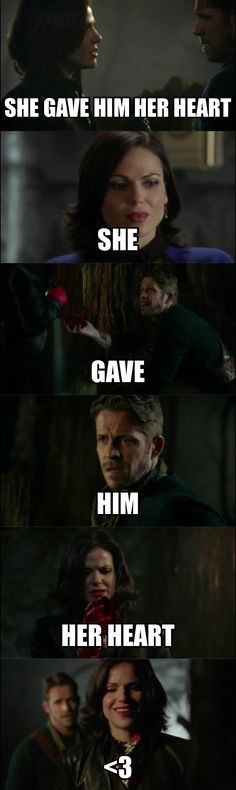 She gave him her heart. SHE GAVE HIM HER HEART!!!! ... Literally. #ouat #evilregal #outlawqueen