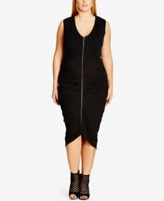 City Chic Plus Size Ruched Front-Zip Bodycon Dress - Black