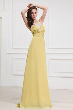 Gorgeous Daffodil Chiffon Floor-Length A-Line Dress