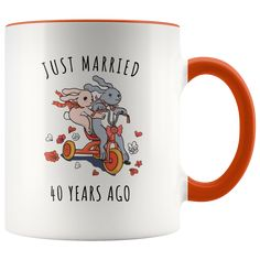 Just Married 40 Years Ago - 40th Wedding Anniversary Gift Accent Mug #weddinganniversary 35th Wedding Anniversary Gift, Anniversary Ideas, 20th Anniversary, Marriage Anniversary, Anniversary Message, Anniversary Surprise, Anniversary Pictures, Anniversary Quotes, Anniversary Cards