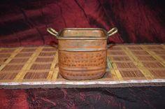 """Vintage Copper Planter Bowl Double Brass Handle 6 3/4""""x4 1/4"""""""