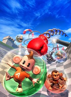 Super Monkey Ball Adventure (2006) Video Game Box Cover Art for the PS2, PSP and Gamecube by Albert Co