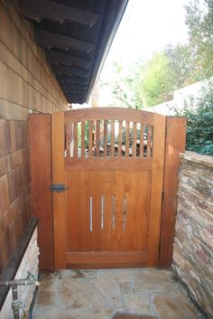 This cedar gate was made by Charles Prowell of Prowell Woodworks  It ties  in nicelyCraftsman Gate by Charles Prowell   Craftsman Fence Ideas  . Exterior Gates Fences. Home Design Ideas