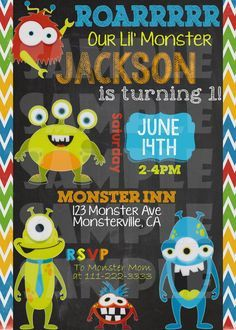 Printable MONSTER BIRTHDAY INVITATION by ShinySparklyParties