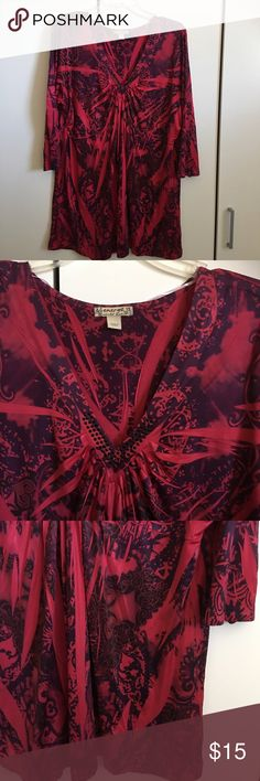 "Emerge Raspberry Tunic Top Gorgeous! Great shape! Beautiful raspberry color. Polyester/Spandex blend. Very soft. Small beading on front of Neckline. Bust 44"", length 31"". 3/4 sleeves. Energe Tops Tunics"