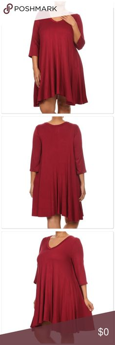 Jersey Knit Dress How beautiful is this must have Solid color jersey knit dress. A-line dress (fitted at the hips and gradually widens toward the hem). V-neck, 3/4 sleeves. 95% Rayon 5% Spandex. Color is Burgundy. The quality is good. Boutique Dresses