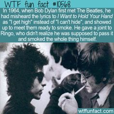 WTF Facts : funny, interesting & weird facts WTF Fun Fact - Bob Dylan Corrupts Beatles 10568 Dylan facts want to hold your hand fact facts funny fact Beatles fun fact Wierd Facts, Wtf Fun Facts, Funny Facts, Random Facts, Strange Facts, Fascinating Facts, Crazy Facts, Weird, John Lennon Beatles
