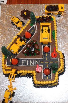 """Road construction cake - """"4"""".  I am thinking of a certain little boy for this cake"""