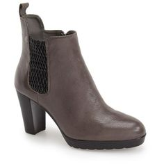 """Bella Vita 'Zana' Chelsea Bootie, 3"""" heel ($105) ❤ liked on Polyvore featuring shoes, boots, ankle booties, ankle boots, grey leather, platform boots, grey ankle boots, short leather boots and platform ankle boots"""