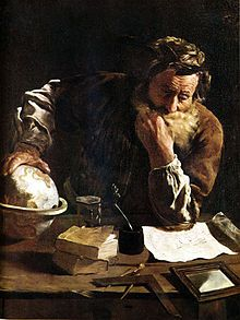 "#Archimedes, a famous mathematician, physicist, engineer, inventor, and astronomer. He proclaimed ""Eureka!"" (found it)  when he stepped into a bath and noticed that the water level rose, that the volume of water displaced must be equal to the volume of the part of his body he had submerged He then realized that the volume of irregular objects could be measured with precision. He ran through the streets of #Syracuse naked to share his discovery. Image: Archimedes Thoughtful by Fetti"