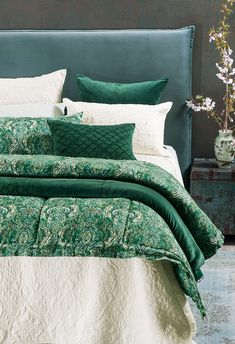 Riad emerald and Sashiko emerald comforter and cushion on Bahia ivory bedspread with Orlare ocean headboard Bed Linen Design, Bed Design, Quilted Bedspreads, Fine Linens, Contemporary Interior, Bed Spreads, Linen Bedding, Moroccan, Comforters