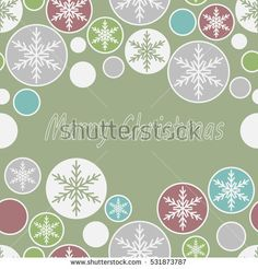 Seamless pattern made of snowflakes in multicolored circles. Christmas card.