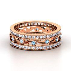 14K Rose Gold Ring with Blue Topaz & Diamond | Sea Spray Band