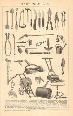 1905 Gardening Tools Antique Engraving to by CabinetOfTreasures, $16.95