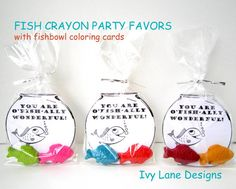 UNDER THE SEA Fish Crayon Favors  Party Pack of by ivylanedesigns, $30.00