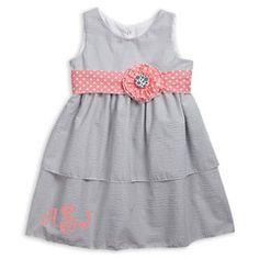 Gray Stripe Seersucker Pink Dot Sash Ruffle Dress