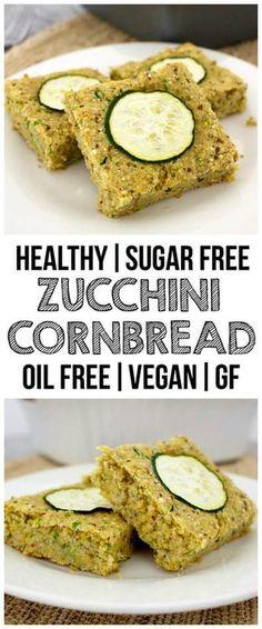 Healthy Zucchini Cornbread (Oil-Free, Vegan, Gluten-Free, Sugar-Free, Low-Fat!)