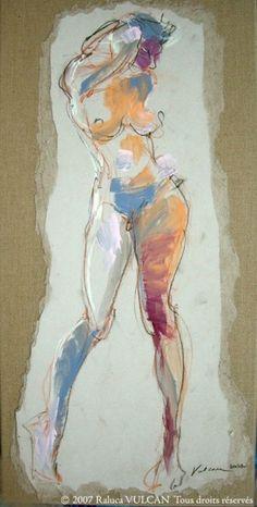 Etude Daria (Painting),  20x60 cm by Raluca Vulcan Technique mixte acrylique, encres, pastels secs, marouflage sur toile