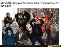 Me and the boys on the dance floor trying to impress the ladies - iFunny :) Funny Marvel Memes, Marvel Jokes, Spiderman Dancing, Joker Meme, Boys Are Stupid, Text Memes, Dance Humor, Stupid Funny Memes, Pulp Fiction