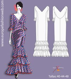 I think I'm going to make this for my next costume. Fashion Illustration Dresses, Fashion Sketches, Sewing Clothes, Diy Clothes, Clothing Patterns, Dress Patterns, Outfits For Spain, Flamenco Skirt, Spanish Dress