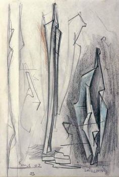 keith rand b.1956 Study for Sculpture, Shielding 2005, Pencil, wax and coloured crayon 20 x 14 cm
