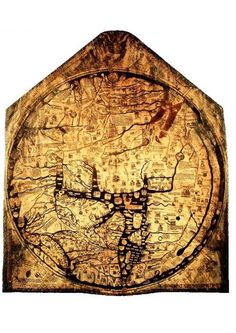 Found beneath the floor of an English cathedral, a large calfskin canvas featuring what appeared to be a map of the world. Once recovered and repaired, the map was found to date to 1285. Cities and towns are depicted on the medieval Mappa Mundi, more than 500 ink drawings illustrate biblical events, exotic plants and animals, wild and strange creatures from legends, and dipictions from classical myths. The remarkable artifact remains the largest medieval map still known to exist.