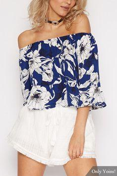 Sexy Blue Off Shoulder Random Floral Print Top