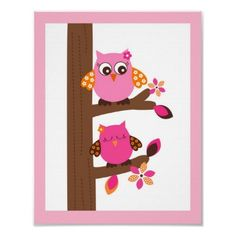 Girl owls in tree nursery print