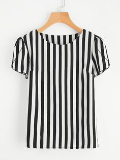 Women Casual Striped Top Regular Fit Round Neck Short Sleeve Black and White Contrast Vertical Striped Petal Sleeve Blouse Black And White Style, White Casual, White White, Color Black, Plus Size Kleidung, Petal Sleeve, Blouse Online, Plus Size Blouses, Women's Blouses