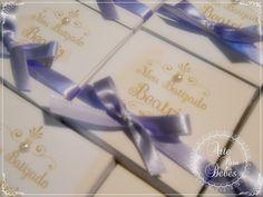 Lembrancinha de maternidade chá de bebê batizado lilas 1 caixa com 1 mini terço