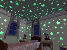 Glow in the dark stars.. i still have a couple on the back of my bedroom door at home :)