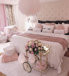 Bedroom Decorating Ideas – Creative bedroom decorating with an unusual bed adds interest to your room, helps personalize your home and create unique living space. A bedroom is a coziest place… Cute Bedroom Ideas, Cute Room Decor, Girl Bedroom Designs, Awesome Bedrooms, Girls Bedroom, Bed Designs, Bedroom Inspiration, Bedroom Ideas Rose Gold, Rich Girl Bedroom