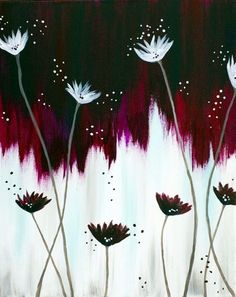 Simple Acrylic Painting Ideas00021  Bargello would be a great background and appliqué the flowers.